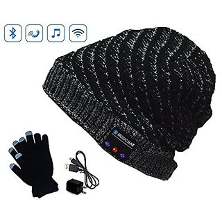 Playme Snow Hat Bluetooth Beanie Muisc Hat with Capacitance Gloves (Grey White)