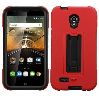 Asmyna Cell Phone Case for ALCATEL 7046T One Touch Conquest - Retail Packaging - Black/Red