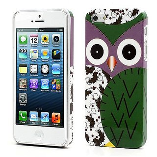 JUJEO Owl Flower Glossy Plastic Hard Cover for iPhone 5 - Non-Retail Packaging - Green