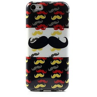JUJEO Stylish Multi mustache Glossy IMD TPU Shell for iPhone 5C - Non-Retail Packaging - Multi Color
