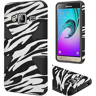 HR Wireless Cell Phone Case for Samsung Galaxy J3 - Retail Packaging - Zebra/Black