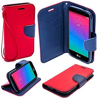 Moozy dual color Fancy Diary Book Wallet Case Flip cover with stand / wrist strap / Silicone phone holder for LG Spirit