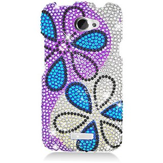Eagle Cell PDHTCONEXS320 RingBling Brilliant Diamond Case for HTC One X - Retail Packaging - Blue Flower