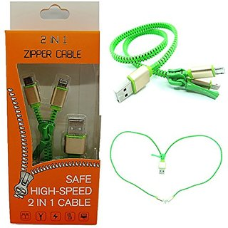 Zipper Cable Green 3 Feet (1M) Long Two-in-One Charging/Data Transfer Cable for Both iPhone IOS and Samsung/Andriod Smar
