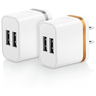 OKRAY 2 Pack 2A 10W Colorful Portable Dual USB Travel Wall Home Charger Power Adapter Plug for iPhone SE 6s Plus, iPad A