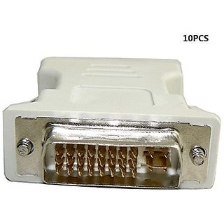 KUYIA DVI to VGA Cable Adapter,24+5PIN M/F (DVI/VGA M/F)-10PCS