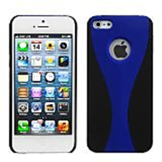 MYBAT IPHONE5HPCBKCH301NP Premium Dual Color Case for iPhone 5 / iPhone 5S - 1 Pack - Retail Packaging - Blue/Black Wave