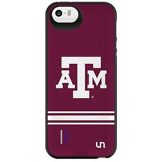 Uncommon Texas A&M University Sport Stripe Power Gallery Battery Charging Case for iPhone 5/5S, White/Maroon (C0040-CB)