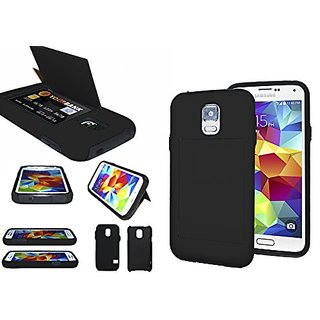 s5 Wallet Case; BleuReign(TM) Heavy Duty Hybrid Credit Card Holder Soft Silicone 2 Piece Dual Layer with Hard Outer Shel