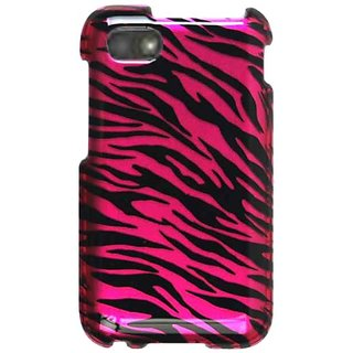 Cell Armor Snap-On Cover for BlackBerry Q5 - Retail Packaging - Transparent Design, Hot Pink Zebra Print