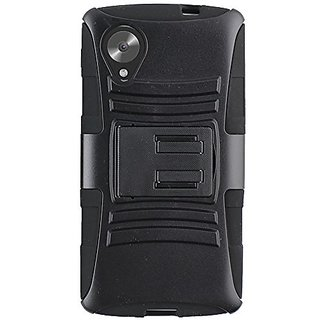 CP Three-In-One Hybrid Case and Holster Clip Combo Carrying Case for LG Google NEXUS 5 - Non-Retail Packaging - Black