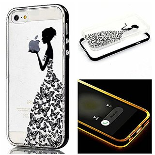 6s Case, iphone 6 Case, ArtMine LED Flash Incoming Call Blink Romantic Butterfly Fairy Girl Hybrid Slim Two Piece Transp