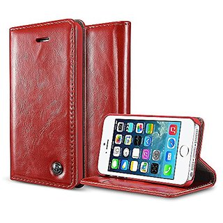 iPhone SE Case, iPhone SE Cover,BELK Retro Red Vintage Leather Wallet Flip Case Handmade Premium Waxy Folio Cover for iP
