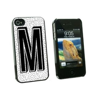 Graphics and More Letter M Initial Sprinkles Black White Snap-On Hard Protective Case for Apple iPhone 4/4S - Non-Retail