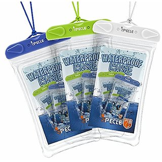 iSpecle Dry Case, 3 Pack Transparent Windows Universal Cell Phone Waterproof Case - IPX8 Certified Waterproof Pouch for