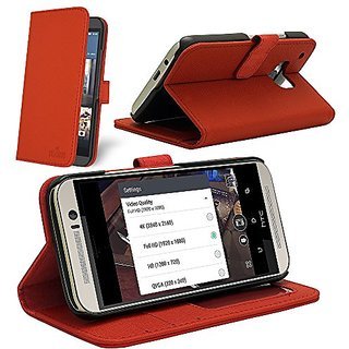 Celicious HTC One M9 (2015) Notecase W PU Leather Wallet Style Case - Red