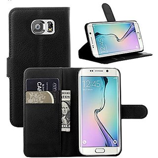 Galaxy S6 Edge Case, Monoy Flip Pu Leather Case Wallet Cover for Samsung Galaxy S6 Edge (Black)