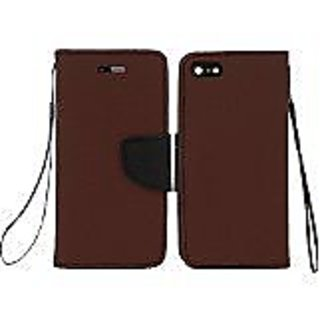 HR Wireless Premium PU Leather Flip Wallet Credit Card Cover Case for iPhone 6 Plus - Retail Packaging - Dark Brown