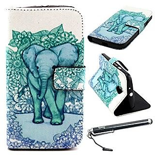 Moto G Case, Motorola Moto G (2nd Gen.) Case, Speedtek Elephant Pattern Premium PU Leather Wallet Flip Protective Skin C