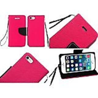 HR Wireless PU Leather Flip Wallet Credit Card Cover Case for iPhone 6 Plus - Retail Packaging - Hot Pink