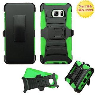 Asmyna Phone Case for SAMSUNG Galaxy S6 Edge Plus - Retail Packaging - Black/Green