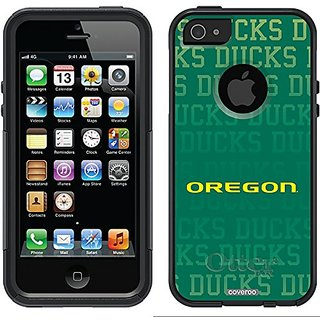 Coveroo Oregon Ducks Repeating Design Phone Case for iPhone 5/5s - Retail Packaging - Black/Black