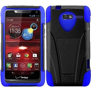 HR Wireless T-Stand Cover Case for Motorola Droid RAZR M XT907 - Retail Packaging - Black/Blue