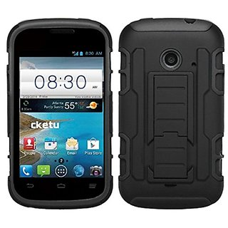 MyBat Asmyna Car Armor Stand Protector Cover (Rubberized) for ZTE Z667 (prelude 2) - Retail Packaging - Black/Black