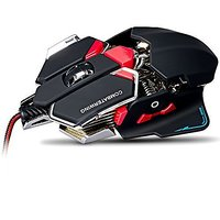 Emarth 4800 DPI Wired Gaming Mouse, Optical USB Mice With Programmable 10 Buttons + Ergonomic Design + Aluminium Base, F