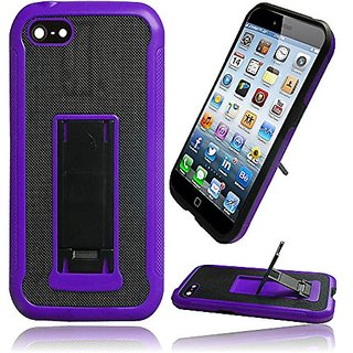 HR Wireless Slim Hybrid Leather Hard and TPU with Kickstand Cover Case for iPhone 6 - Retail Packaging - Black/Purple