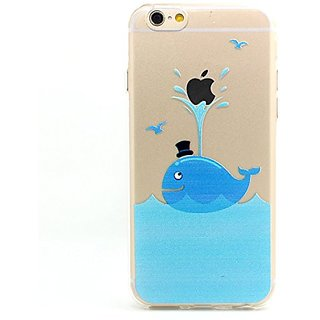 iPhone 6 Case, LUOLNH Funny fashion creative design Blue Whale Wonderland TPU Silicone Skin Case Cover Phone Case Case B