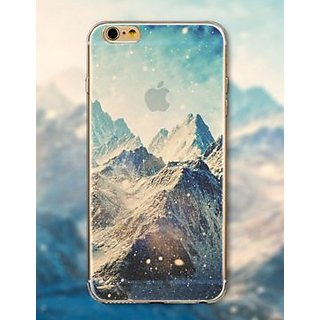 iPhone 6 Plus /6S Plus Transparent TPU Silicone 0.5mm Slim Fit Case Cover for Apple (Photo of Snow Mountain Range)