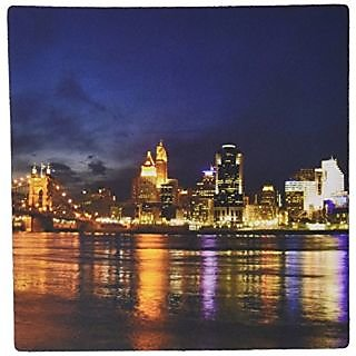3dRose LLC 8 x 8 x 0.25 Inches Cincinnati Skyline at Night Mouse Pad (mp_61681_1)