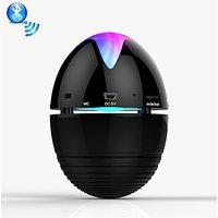 DR 929 Portable Bluetooth Mini Stereo Speaker - Black Egg Shape Rechargeable Led Lights, Hands Free Calling, Radio & Mp3