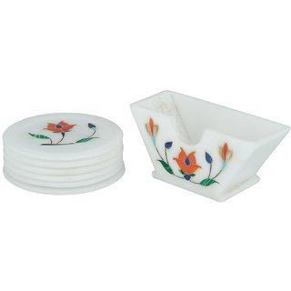 Mangalam Stone Coaster Set ( 11 x 11 x 3 cm, White Pack of 5)