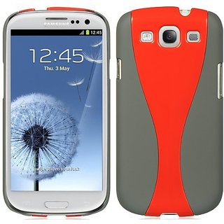 Luxmo CRASAMI747GYRDCUR Unique Durable Rubberized Crystal Case for Samsung Galaxy S3 - Retail Packaging - Gray/Red