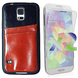 Exian Multifunctional Phone Case for Samsung Galaxy S5 - Retail Packaging - Brown