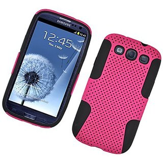 Eagle Cell PHSAMI9300NTBKHPK Progressive Hybrid Protective Gummy TPU Mesh Defense Case for Samsung Galaxy S3 - Retail Pa