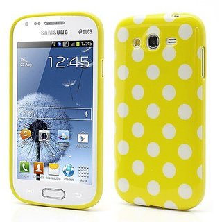 JUJEO Polka Dots Jelly TPU Case for Samsung Galaxy Grand I9082 - White Dots - Non - Retail Packaging - Yellow