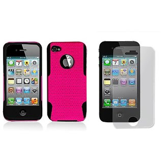 Aimo Wireless IPHONE4GPCPA002 Hybrid Armor Cheeze Case for iPhone 4 - Retail Packaging - Black/Blue