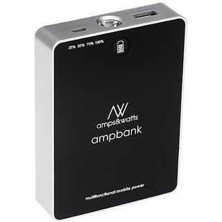 amps&watts 7-In-1 Portable 5500mAh Power Bank - Retail Packaging - Black
