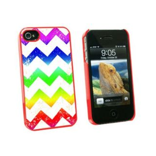Graphics and More Vintage Chevrons Rainbow - Snap On Hard Protective Case for Apple iPhone 4 4S - Red - Carrying Case