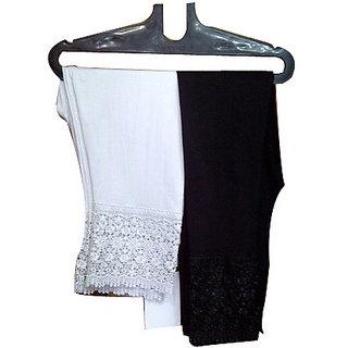 2 pcs set of lace leggings black and white/ cotton lycra plus size leggings