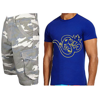 Cargo Shorts For Mens- Free Size Fits 28 To 34 Inches & Om Printed Tshirt