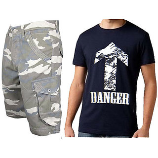 Cargo Shorts For Mens- Free Size Fits 28 To 34 Inches & Printed Tshirt A2