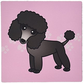 3dRose LLC 8 x 8 x 0.25 Inches Mouse Pad, Cute Black Poodle Pink Paw Print Background (mp_13764_1)
