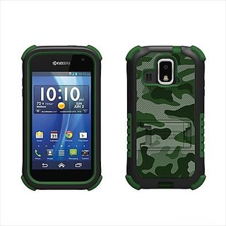 Beyond Cell Tri-Shield Durable Hybrid Hard Shell and Silicone Case for Kyocera Hydro XTRM C6721 - Retail Packaging - Gre