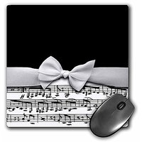 3dRose LLC 8 X 8 X 0.25 Inches Mouse Pad, Stylish Musical Notes Faux Ribbon And Bow Black And White Sheet Music Girly Cl