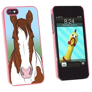Graphics and More Horse Brown Paint Pinto Snap-On Hard Protective Case for Apple iPhone 5/5s - Non-Retail Packaging - Pi