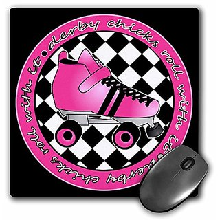 3dRose LLC 8 x 8 x 0.25 Inches Mouse Pad, Derby Chicks Roll With It - Black/Hot Pink Roller Skate (mp_28519_1)